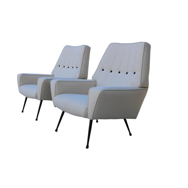 Mid-Century Black & White Italian Armchairs - A Pair - Image 3 of 5