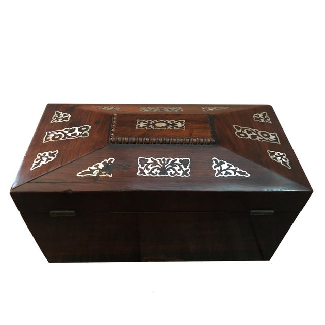 Mid 19th Century Vintage English Rosewood Mother Pearl Inlay Tea Caddy For Sale - Image 4 of 5