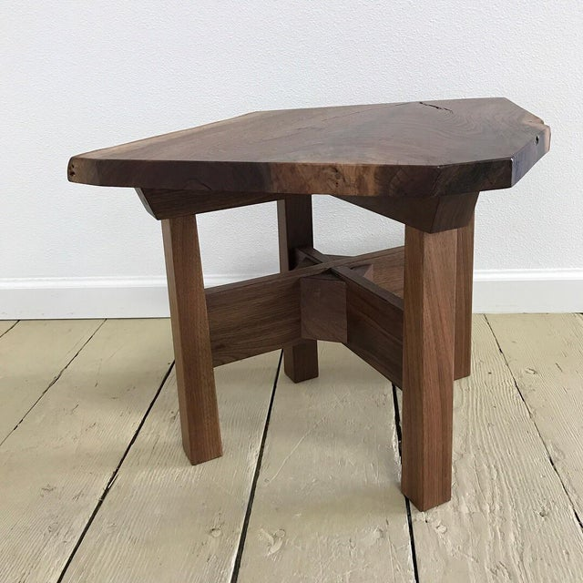 Country Solid California Walnut Stool For Sale - Image 3 of 11