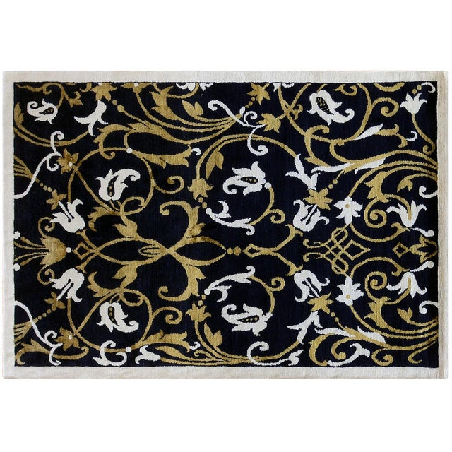 Floral black and gold rug. Wool and silk combination, hand-knotted in Nepal.