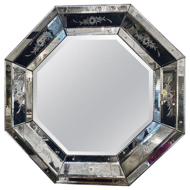 Venetian Style Hollywood Regency Octagon Mirror Etched Glass Beveled Antiqued For Sale - Image 13 of 13