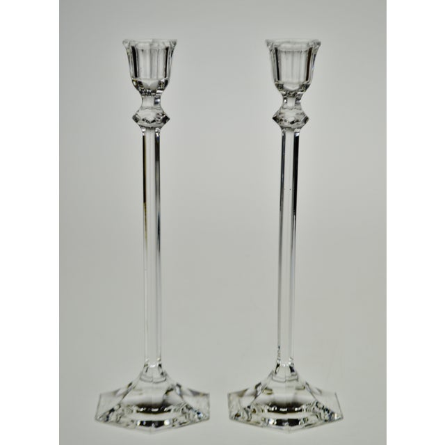 Vintage Glass Candlesticks - A Pair Condition consistent with age and history. For use with tapered candles; candles are...