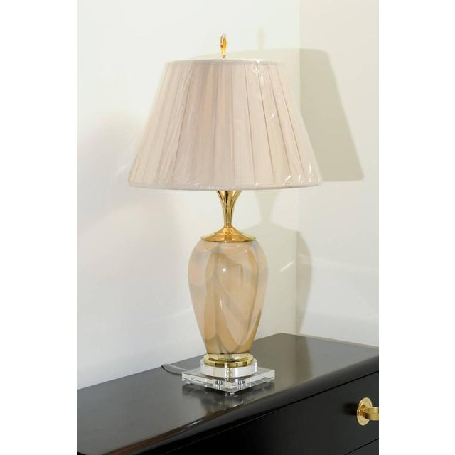 Sophisticated Pair of Custom-Made Murano Lamps with Silk Box Pleat Shades For Sale In Atlanta - Image 6 of 10