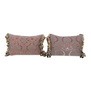 Traditional Chenille and Metal Thread Pillows - a Pair For Sale