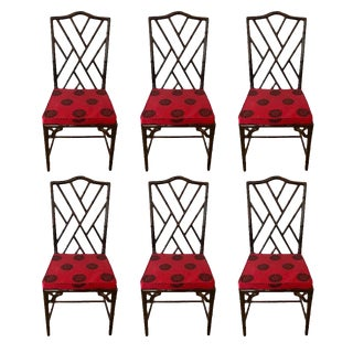 1970s Vintage Chinese Chippendale Faux Bamboo Dining Chairs- Set of 6 For Sale