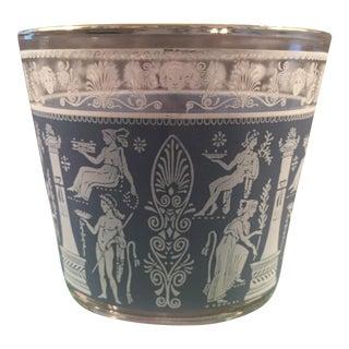 Vintage Jeannette Glass Neoclassical Roman Greek Blue Ice Bucket