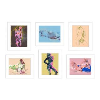 Figures, Set of 6 by David Orrin Smith in White Frame, Medium Art Print For Sale