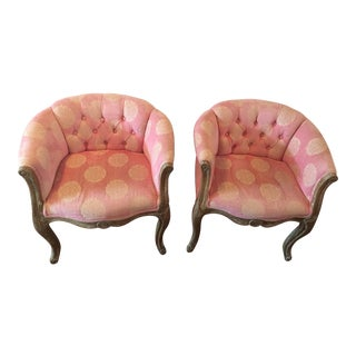 Shabby Chic Pink Fabric Tufted Accent Chairs - a Pair For Sale