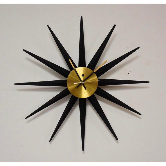 6198b8ff1b52 Brass George Nelson for Howard Miller Starburst Clock For Sale - Image 7 of  7