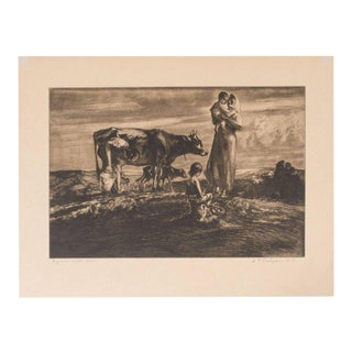 Signed Original Pastoral Etching by John E. Costigan For Sale
