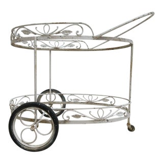 Antique Wrought Iron Oval Patio Serving Cart For Sale