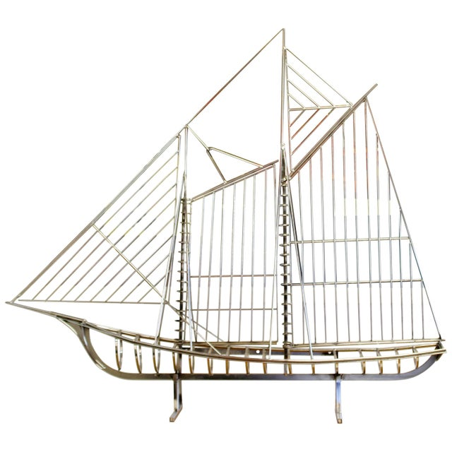 Mid-Century Modern Chrome Sailboat Table Sculpture Signed Curtis Jere, 1970s For Sale - Image 9 of 9