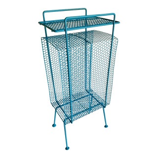 Richard Galef Atomic Mid Century Modern Blue Perforated Wire Telephone Magazine Stand Side Table For Sale