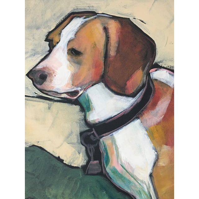 Portraiture 1990s Vintage Contemporary Beagle Dog Portrait Oil Painting Signed by Rise Delmar Ochsner For Sale - Image 3 of 13