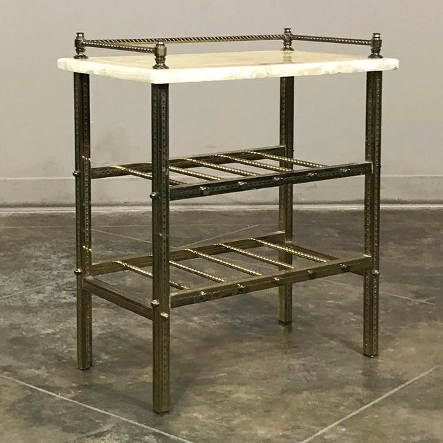 Gold Mid-Century Brass & Marble Wine Serving Table For Sale - Image 8 of 11