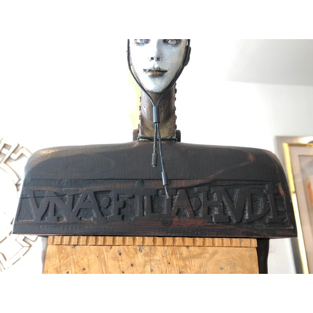 Vintage 2002 Cecilia Z Miguez Sculpture 6-Foot Bronze Wood Granite and Found Objects For Sale - Image 9 of 13