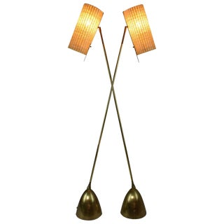 Equilibrium-V Contemporary Articulating Brass Rattan Floor Lamp, Flow Collection For Sale