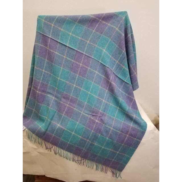 Wool Throw Aqua Blue, Yellow and Purple Stripes and Squares - Made in England For Sale - Image 4 of 6