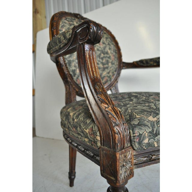 Wood Vintage French Louis XVI Style Carved Walnut Fireside Arm Chair Fauteuil For Sale - Image 7 of 11