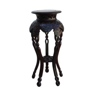 Chinese Huali Rosewood Two Brown Round Curved Legs Plant Stand For Sale