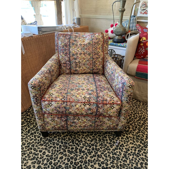 Custom Club Chair in St. Frank Fabric For Sale - Image 4 of 4