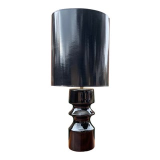 Vintage 1970s Black Ceramic Lamp and Glossy Shade For Sale