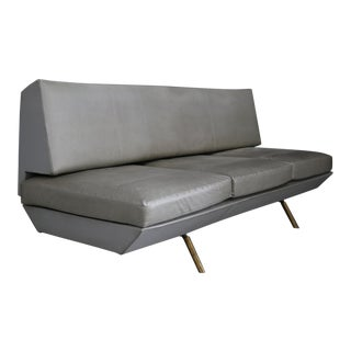Extendable Sofa by Marco Zanuso From 1950 in Brass and Leather. For Sale