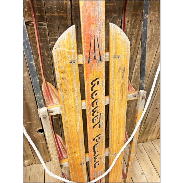 Country Vintage Weathered Wood & Metal Runner Sled -- Rocket Plane For Sale - Image 3 of 10