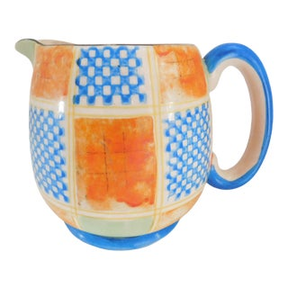 Vintage Plaid Ceramic Pitcher Made in Nagoya, Japan For Sale