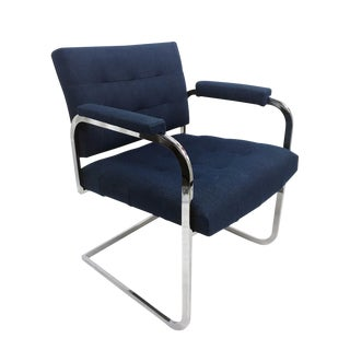 Patrician Chrome Cantilever Armchair For Sale