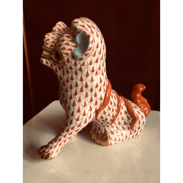 1980s Herend Rust Colored Fishnet Pattern Foo Dog Figurine For Sale - Image 5 of 11