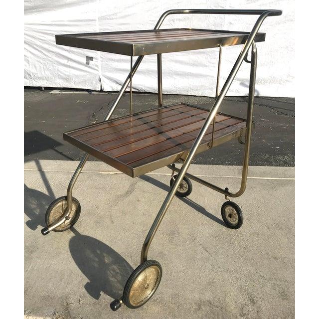 Mid-Century Wood Slat & Metal Rolling Bar Cart - Image 10 of 10