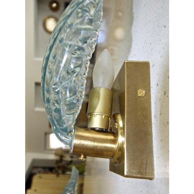 Aqua 1950s Barovier Murano Aqua Blue Leaf Glass Wall Sconces - a Pair For Sale - Image 8 of 12