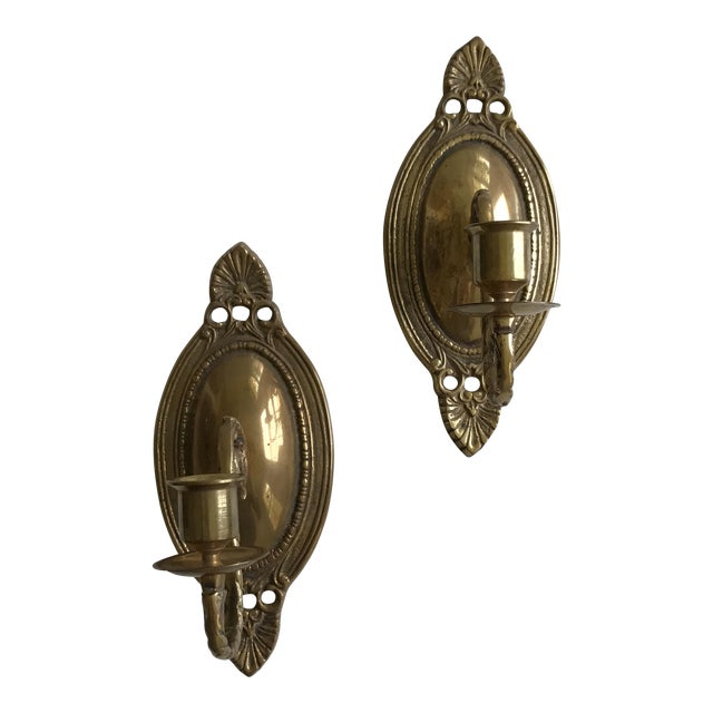 Vintage Brass Wall Sconces - A Pair - Image 1 of 7