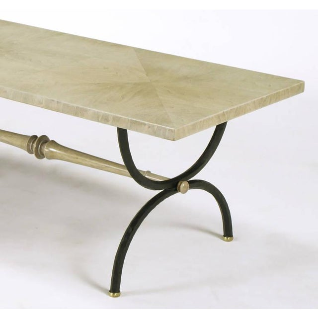 Gothic Tomlinson Driftwood Glazed Coffee Table with Triple-Curule Forged Iron Base For Sale - Image 3 of 8