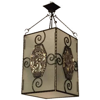 French Art Deco Lantern or Chandelier with Mythical Plaques For Sale