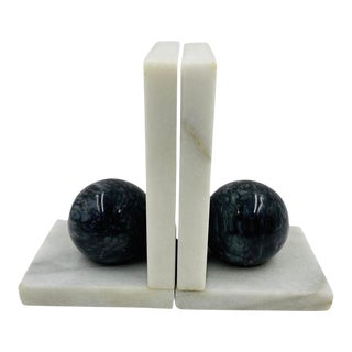 1960s Vintage Black and White Marble Bookends - a Pair For Sale