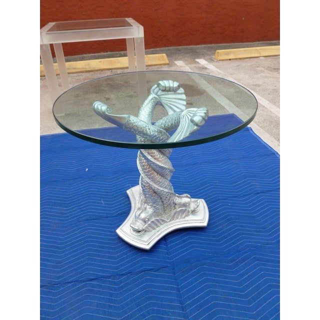 Traditional Chic Vintage Italianate Silver Leafed Carved Wood Table Intertwined Dolphins For Sale - Image 3 of 9