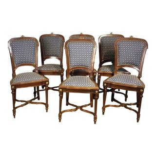 1860s Antique Walnut Parisian Chairs With Ormulu and Nailhead Accents - Set of 6 For Sale