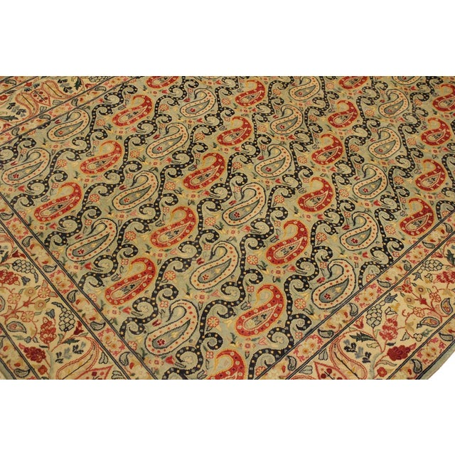 Textile Shabby Chic Guhm Pak-Persian Pearline Lt. Green/Tan Wool Rug - 4'8 X 7'1 For Sale - Image 7 of 8