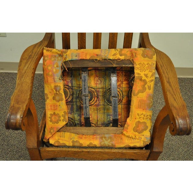 Antique Mission Arts & Crafts Carved Solid Oak Rocking Lounge Chair Rocker Vintage For Sale - Image 10 of 11
