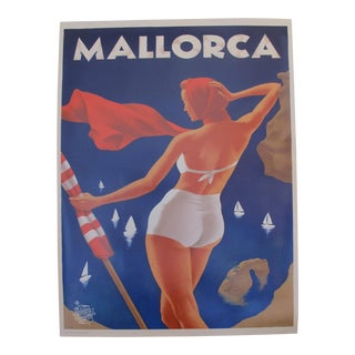 2018 Modern Travel Mallorca Poster, Girl in the White Bikini For Sale