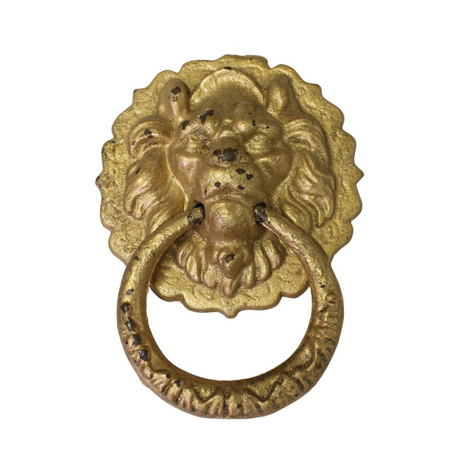Chinese Metal Distressed Matte Gold Color Lion Head Shape Pull Handle Display For Sale - Image 4 of 8