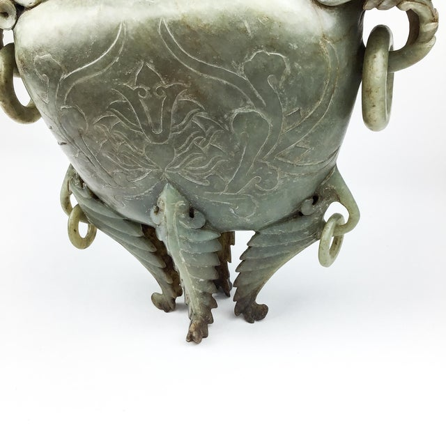 Stone Magnificent Carved Chinese Soapstone Ritual Ewer For Sale - Image 7 of 12