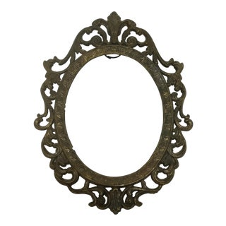 Oval Antique Italian Bronze Photo Frame For Sale