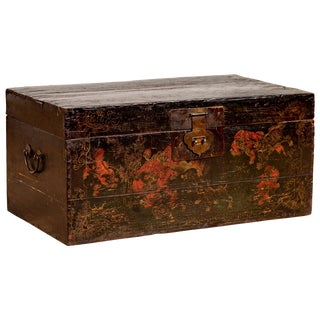Antique Chinese Black Lacquered Blanket Chest With Hand Painted Guardian Lions For Sale