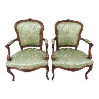 Pair of Antique French Louis XV Style Armchairs For Sale