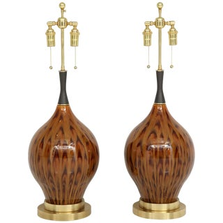 1960s Brown Peacock Glazed Ceramic Lamps - a Pair For Sale
