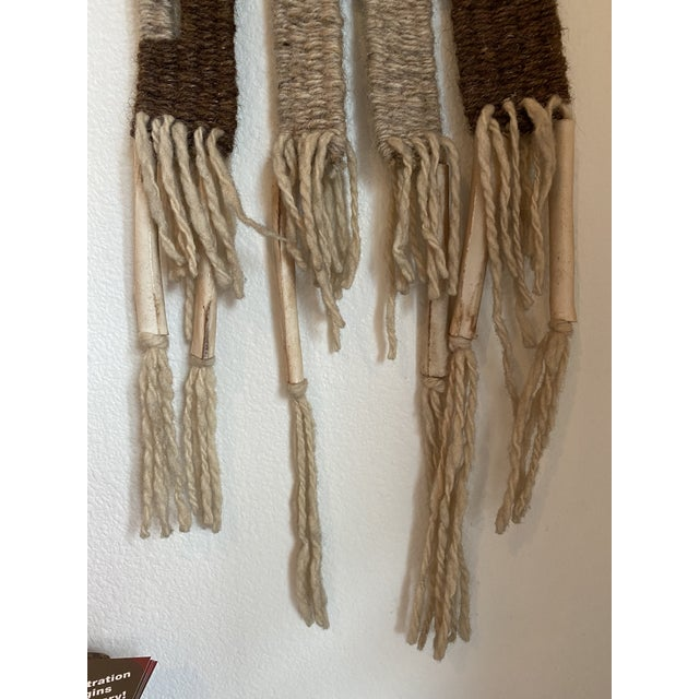 Cabin Hand Woven Raw Wool Textile With Cow Vertebrae For Sale - Image 3 of 9