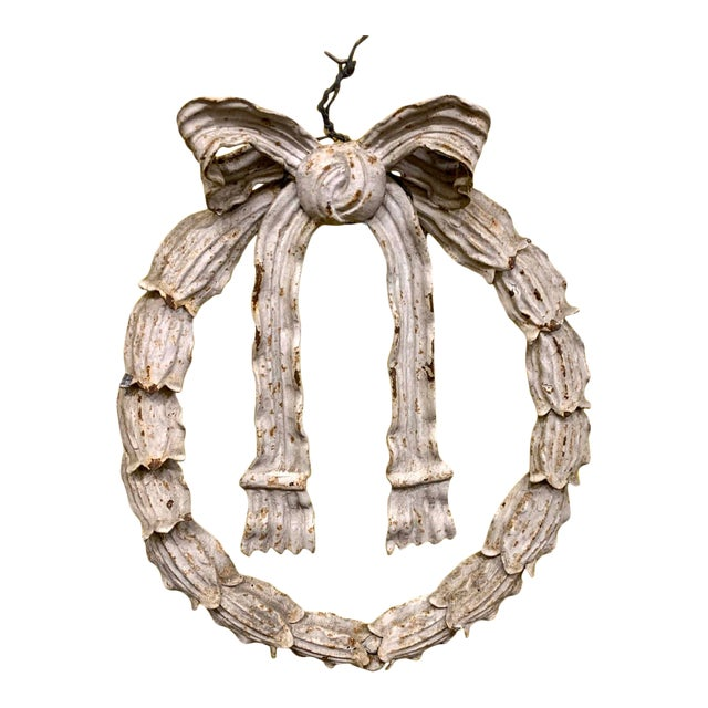 Early 20th Century Cast Iron Holly Wreath Ornament For Sale